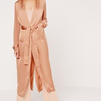 Missguided - Satin and Chiffon Mixed Belted Duster Coat Bronze