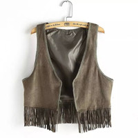 None Button Sleeveless Fringed Suede Leather Crop Tank Top