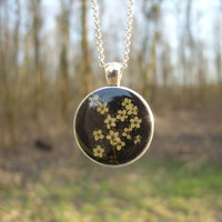 Real flower necklace - Elderflowers on black background - Pressed flower jewelry - Botanical jewelry - Nature inspired pendant -White flower