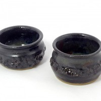 Black stoneware dipping bowls with textured sides
