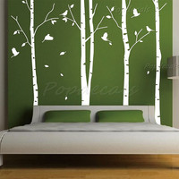 "Hot Sale Tree Wall Murals Living Room Wall Decals Office Tree Decals Nature Trees Decal--Set of 4 big birch trees (102"" H)"