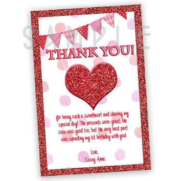 Valentine Birthday Thank You Card - Valentines Day Party Favor Tags - Faux Red Glitter Heart - 1st Birthday Girl - Sweetheart Thank You Pink