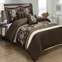 Myra Chocolate 6-Piece Comforter Set Embroidered 100% Cotton