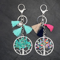 Tassel Bohemia Owl Leaf Tree of Life Pendant Key Chain
