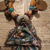 20 inch tribal abstract boho hippie gypsy necklace