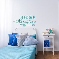 WonderWallzStore Lets Go On An Adventure Vinyl Wall Decal Quote- Travel Theme Nursery Wall Decal- Travel Nursery Decor- Adventure Vinyl Wall Decal Stickers