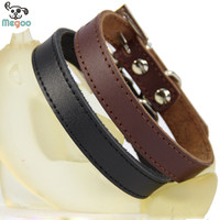 Genuine Leather Dog Collar Simple Design Puppy Harness Adjustable Small Dog Neck Strap Collar