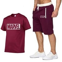 Cotton T Shirts+Shorts Men Sets Brand Clothing Two Pieces Tracksuit