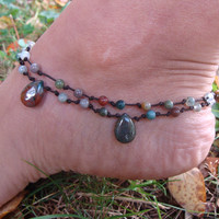 Simply knots beaded Indian Agate gemstone beads summer hippie anklet earth colors drop charms, for her, gypsy jewelry