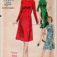 Retro Mad Men Style 60s Vogue Sewing Pattern Basic Sheath Dress A-line Casual Day Dress Cocktail Dress Knee Length Bust 34