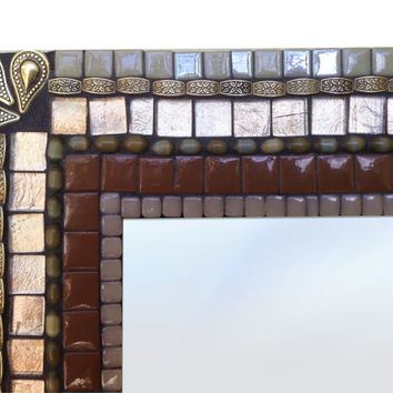 Brown and Copper Mosaic Wall Mirror