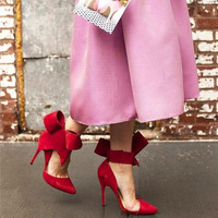 New red suede bow pumps Women high heel sandals party shoes