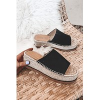 Woven Waves Black Platform Slides