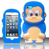 For ipod touch 5 itouch 5g 5th Generation - Monkey Style 3D Design Silicone Flexible Cover Case - Baby Blue Monkey SCMK