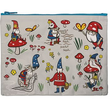 """Gnomes Recycled Material Cute/Cool/Unique Zipper Pouch/Bag/Clutch/Cosmetic Bag   9.5"""" x 7"""""""