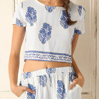 Bohemian Boxy Print Cropped  Top Shorts Sets