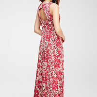 Abstract Floral Print Maxi Dress