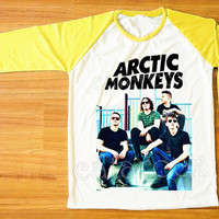 Arctic Monkeys T-Shirt Rock T-Shirt Raglan Tee Shirt Yellow Sleeve T-Shirt Women T-Shirt Men T-Shirt Unisex T-Shirt Baseball Tee Shirt S,M,L