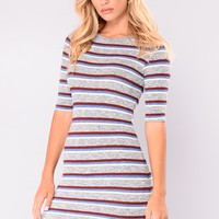 Cabin In The Woods Dress - Grey Stripe
