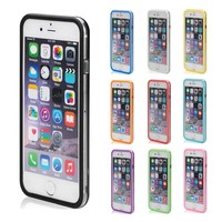 """Slim Clear Trim Solid Flexible Rubber gel phone bumper for Apple iPhone 6 iPhone 6S 4.7"""" Silicone Frame Skin case"""