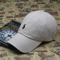 Summer Beige Polo Embroidered Cotton Outdoor Baseball Cap Hats
