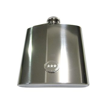 Silver Toned Etched Oval 3 Stars 6oz Flask