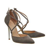 Office Trapped Strappy Point Court Heels Grey Kid Suede - High Heels
