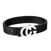 Stainless Steel Bracelet Mens CG Belt Buckle Design Black Leather Wristband Unique