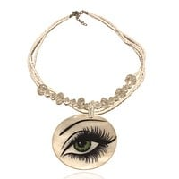 Abalone Beaded Statement Graphic Necklace Eye