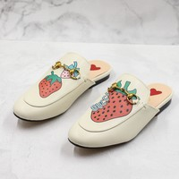 Gucci Princetown Slipper With Strawberry
