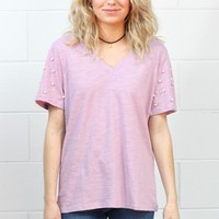Pearl Studded Short Sleeve V-neck {Lavender} - Size SMALL