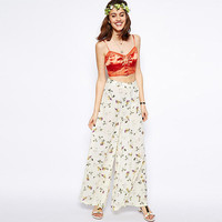 Cream Floral  Wide Leg Chiffon Pants