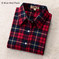 Autumn Plaid Shirt Women Blouses Long Sleeve Blouse Women Shirts Plaid Blusas Femininas Flannel Womens