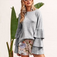 Bells and Whistles Ruffle Sleeved Sweater