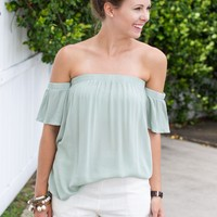 Madison Off The Shoulder Top - Sage