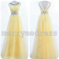 Beads Crew Strapless Long Bridesmaid Dress, Floor length Tulle Formal Evening Party Prom Dress New Homecoming Dress