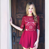 All About You Playsuit- Burgundy {Boutique Collection}