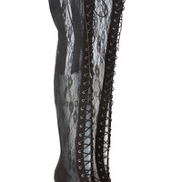 Lovely Lace Up Thigh High Electra Boots