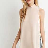 Mock Neck High-Slit Top