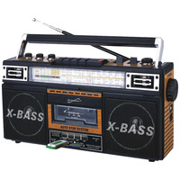 Supersonic Retro 4-band Radio & Cassette Player (wood)