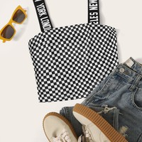 Letter Tape Checker Crop Top