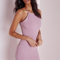 Missguided - Ribbed 90's Neck Bodycon Dress Mauve