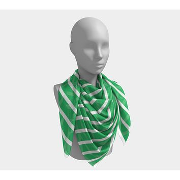 Striped Square Scarf - White on Green