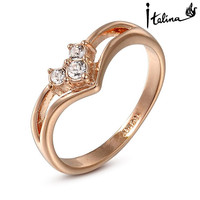 Brand TracysWing Austrian Crystal 18KRGP gold Color Rings for Women Zirconia Fashion healthy Anti Allergies