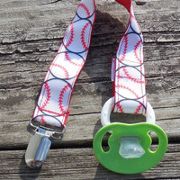 Baseball Ribbon, Red Pacifier Holder, Binky Clip, Pacifier Clip or Toy Clip
