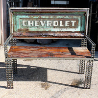 Chevy Tailgate Bench. Chevrolet Truck Tail Gate Benches, Reclaimed Wood Furniture, Rustic Wood Bench