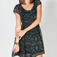 Lottie & Holly Brocade Print Button Front Dress Multi  In Sizes