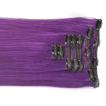 """Royal Purple:  21"""" Clip In 100% Human Hair Extensions"""
