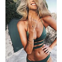 Swimsuit New Arrival Hot Summer Beach Ladies Sexy Bandages Hollow Out Bikini [175861334031]