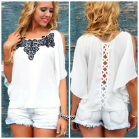 Mornington Off White Criss Cross Embroidered Top